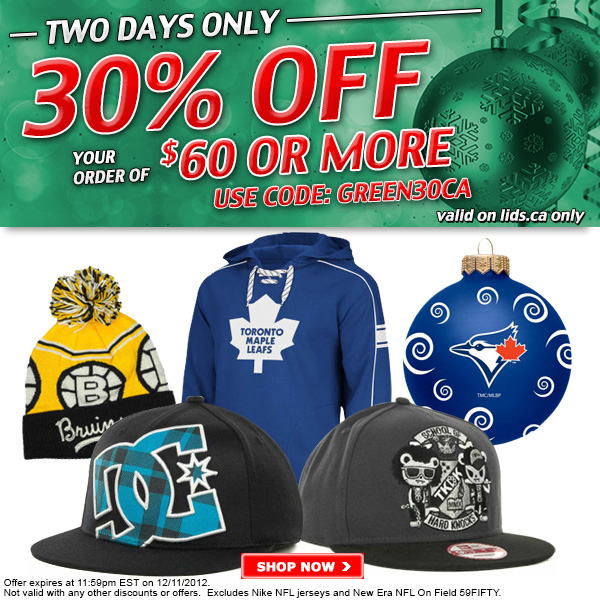 55b320f1c38 Lids.ca  Green Monday Sale – 30% Off Your Order of  60 or More + ...