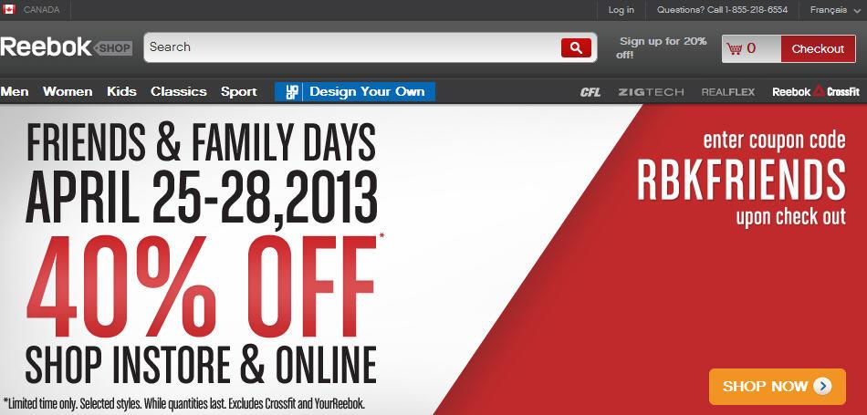 beliebte Geschäfte zuverlässiger Ruf hübsch und bunt Reebok: 40% Off Friends & Family Sale + Free Shipping (Apr ...