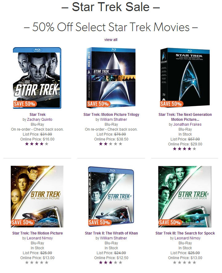 Chapters Indigo Star Trek Sale - 50 Off Select Star Trek Movies