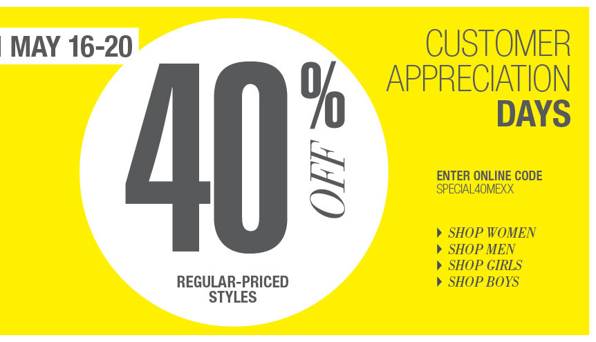 Mexx 40 Off Customer Appreciation Days Sale (May 16-20)