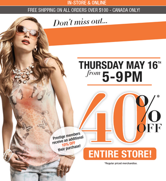 Suzy Shier 40 Off Entire Store (May 16 from 5-9 PM)