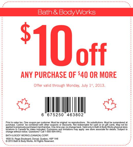Bath Body Works Coupon 10 Off Any Purchase Of 40 Or More Until July 1 Vancouver Deals Blog