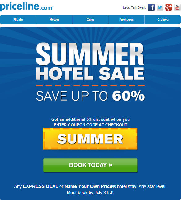 Priceline Summer Hotel Save Up To 60 Off Extra 5 Promo Code