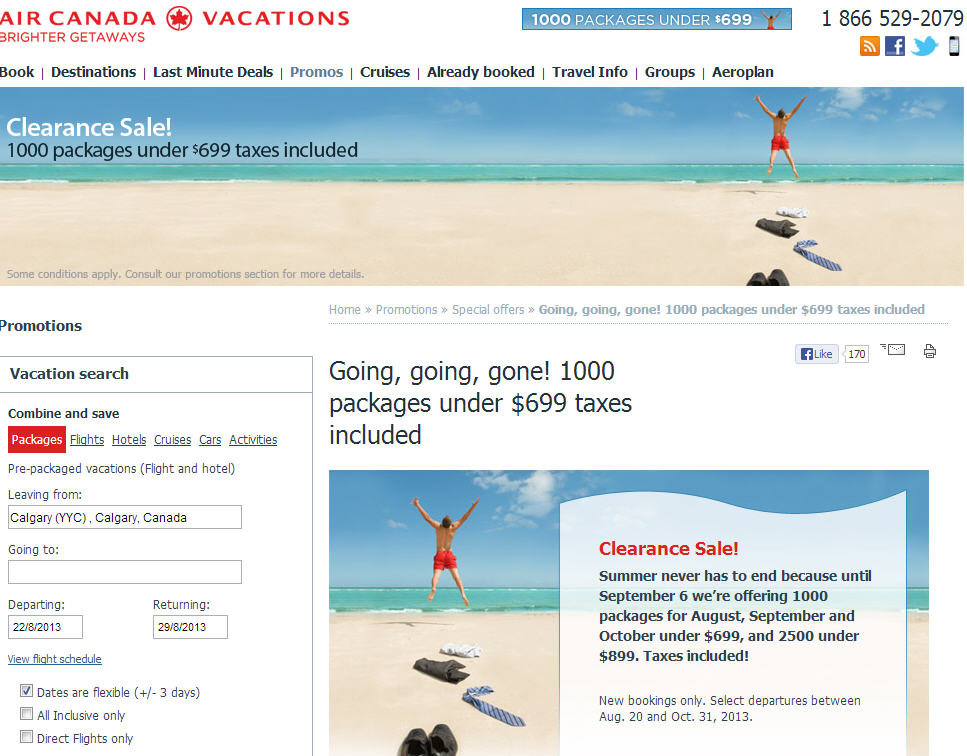 Air Canada Vacations Clearance Sale - Over 1,000 Packages Under $699 Including Taxes (Until Sept 6)