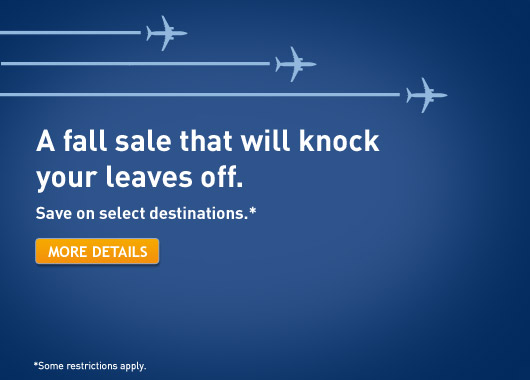 Westjet Fall Sale - Save on flights to select Canadian, US, Mexico and Caribbean destinations (Book by Oct 17)