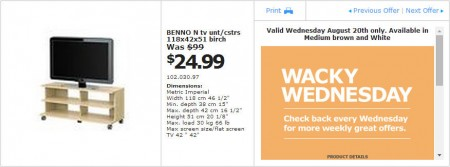IKEA - Vancouver Wacky Wednesday Deal of the Day (Aug 20) A