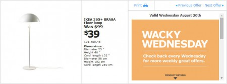 IKEA - Vancouver Wacky Wednesday Deal of the Day (Aug 20) B