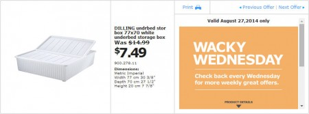 IKEA - Vancouver Wacky Wednesday Deal of the Day (Aug 27) A