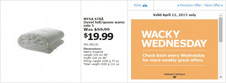 IKEA - Vancouver Wacky Wednesday Deal of the Day (Apr 22) D