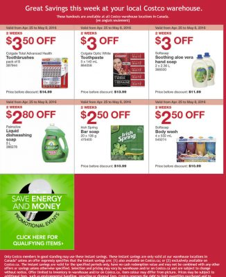 Costco Weekly Handout Instant Savings Coupons (Apr 25 - May 8)