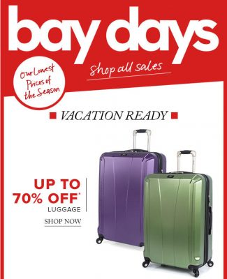 Hudson's Bay Bay Days - Up to 70 Off Luggage (Until Apr 28)