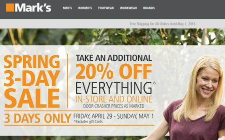 Mark's 20 Off Everything + Free Shipping All Orders (Apr 29 - May 1)