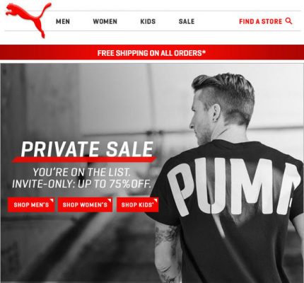 PUMA Private Sale - Save up to 75 Off + Free Shipping (Apr 27-28)