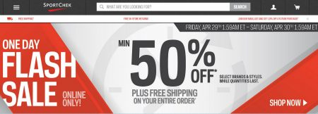 Sport Chek Flash Sale Today Only - Minimum 50 Off + Free Shipping All Orders (Apr 29)