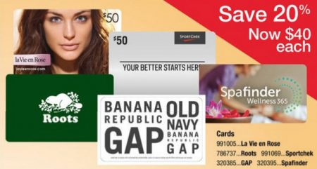 Staples 20 Off Gift Cards to Sport Chek, GAP Options, Roots, la Vie en Rose, Spafinder (Apr 27 - May 10)
