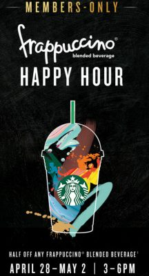 Starbucks 50 Off Any Frappuccino Blended Beverage from 3-6pm (Apr 28 - May 2)