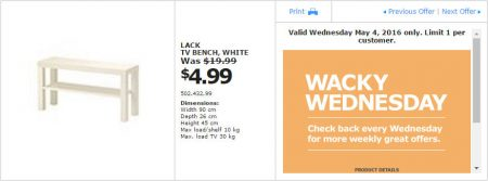 IKEA - Calgary Wacky Wednesday Deal of the Day (May 4) B