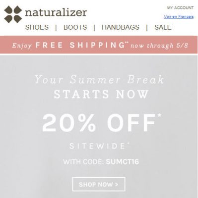 Naturalizer 20 Off Sitewide Promo Code + Free Shipping All Orders (Until May 8)