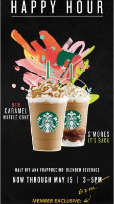 Starbucks Happy Hour - 50 Off Any Frappuccino Blended Beverage (May 3-15)
