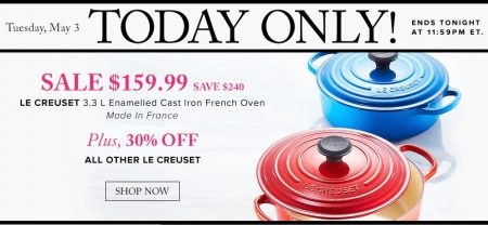 TheBay Today Only - $159.99 for Le Creuset Cast Iron French Oven - Save $240 (May 3)