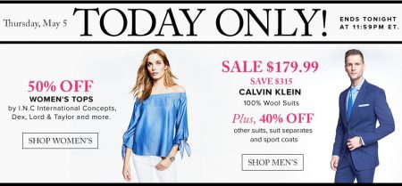 TheBay Today Only - 50 Off Women's Tops, $179.99 for Men's Calvin Klein Wool Suits (May 5)
