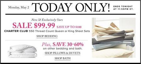 TheBay Today Only - $99.99 Charter Club 550 Thread Count Queen or King Sheet Sets (May 2)